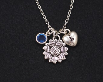 Initial necklace, sunflower necklace, birthstone necklace, silver flower charm, sister friend gift, flower girl, bridesmaids gifts