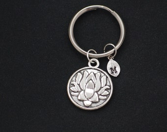 lotus keychain, initial keychain, bridesmaids gifts, silver lotus flower keyring, blooming flower, yoga, best friend gift, christmas gift