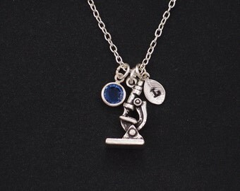 initial necklace, microscope necklace, birthstone necklace, silver microscope charm, gift for lab techs, microbiolgists, science necklace