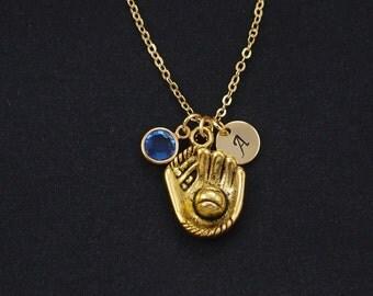 initial necklace, baseball mitt and ball necklace, birthstone necklace, gold softball mitt charm, baseball glove charm, sports jewelry