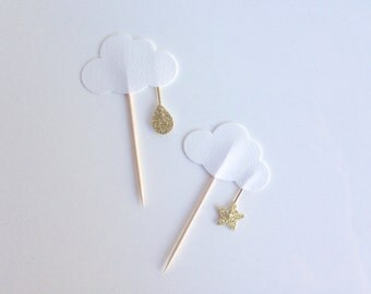 Baby Shower or Birthday Party white and Gold Glitter Cloud Cupcake Toppers with Star and Raindrop
