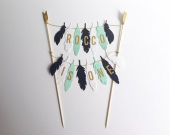 Birthday Cake Bunting Personalised Cake Topper Feathers Birthday