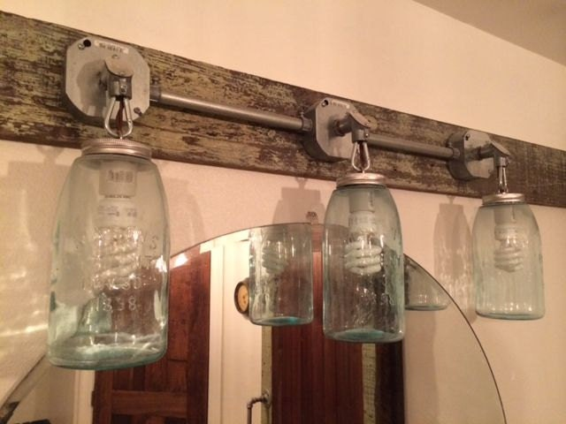 Old reclaimed cypress mason jars vanity light fixture wall - Mason jar bathroom light fixture ...