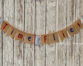 Burlap Time Flies Airplane Birthday Banner, First Birthday, 1st Birthday, Boy Birthday Banner, Burlap Birthday Banner, Red & Blue Highchair