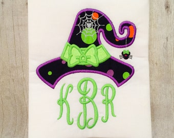 Girls Witch Hat Shirt or Bodysuit - Witch shirt - Halloween - Trick or Treat - 1st halloween - Halloween Monogram