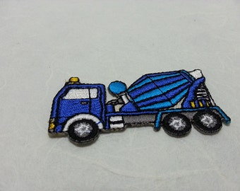 Cement Truck Iron on patch (S) 6 x 2.9 cm - Cement Truck Applique Embroidered Iron on Patch # 2