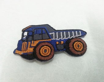 Dump Truck Iron on patch (S) 5.2 x 3.5 cm - Dump Truck Applique Embroidered Iron on Patch # 3