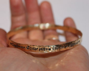 Personalized Brass or Copper Bangle Bracelet