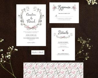 Rustic Watercolor Printable Wedding Invitation Digital File
