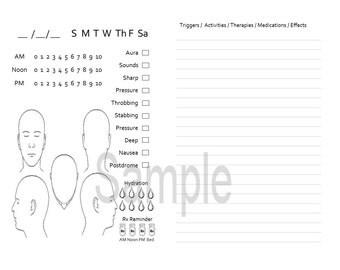 Personal size The Original Migraine Journal for TN, Traveler's Notebook, Midori-  digital download Printable
