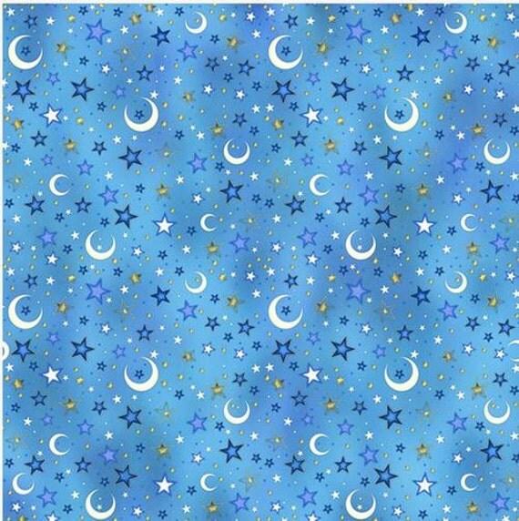 Enchanted kingdom blue night sky juvenile fabric for Night sky material