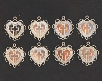 Vintage Lot of 8 Corss Heart Silver Toned Charm Pendants New Old Stock