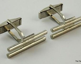 Vintage Cufflinks Silver Tone Sleek Thin Fran-Ital Pat Pend Cuff Links