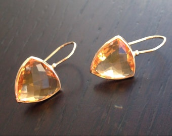 14k solid yellow gold and trillium citrine earrings