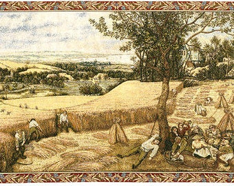 Bruegel Tapestry Wall Hanging The Harvesters -  25x43 Belgian Wall Hanging Tapestry - Tapestry Wall Decor