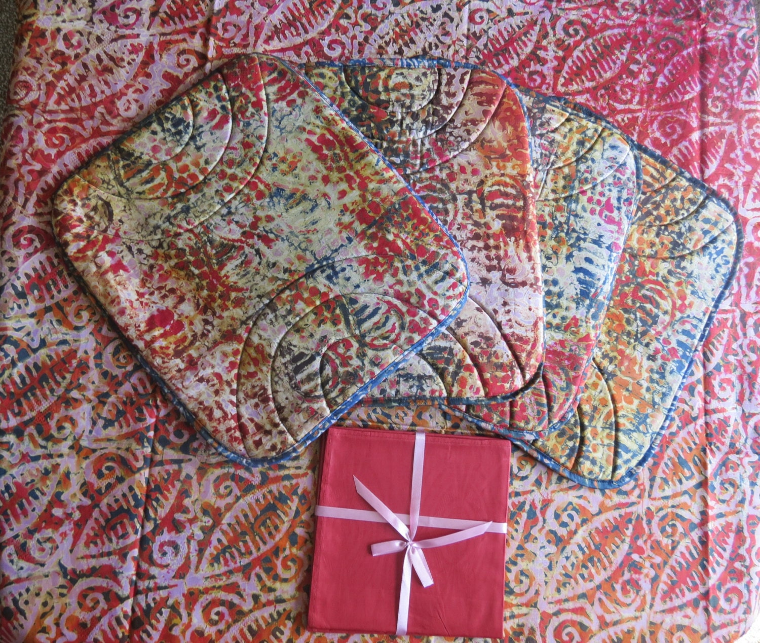 African Batik Table Cloth Set 81x48 Inches 4 Placemats And