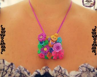 Handmade Polymer Clay Fairy and Flowers Pendant