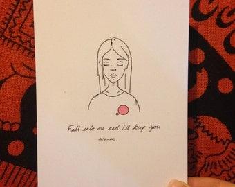 Art Print Postcard - Fall into me and I'll keep you warm