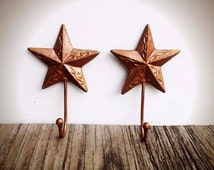 BOLD metallic copper ornate star wall hooks // shabby cottage chic towel coat hooks