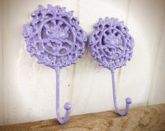 BOLD ornate rose floral wall hook set of 2 // shabby chic lilac purple and white // rustic garden spring decor // coat towel key hook
