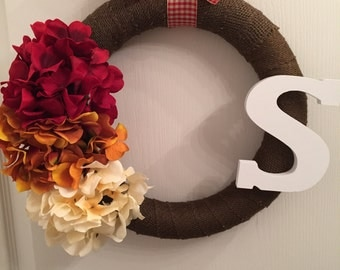 Autumn inspired Wrapped Burlap hydrangea wreath with S initial