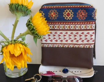 Blue Ethnic Tribal Turkish Fold Over Clutch - Brown Faux Leather Wristlet/ Ethnic Clutch/ Tribal Wristlet/ Turkish Chenille Clutch