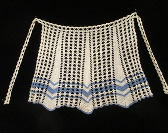 Vintage Crocheted 1940's-50's Blue and White Half Apron