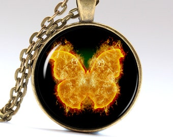 Butterfly pendant moth necklace insect amulet fire jewelry Necklaces Pendants LG065