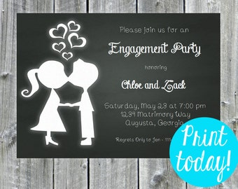 Instant Download- Engagement Party Invitation, Kissing, Bridal Shower Invitation, engagement shower, wedding shower, chalkboard