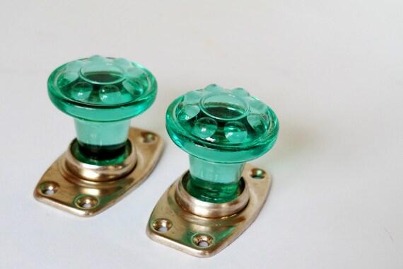 Vintage glass door knobs decorative door knobs turquoise glass door