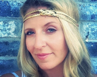 Womens Gold Headband, gold braided headband, nautical knot headband for women, adult gold headband