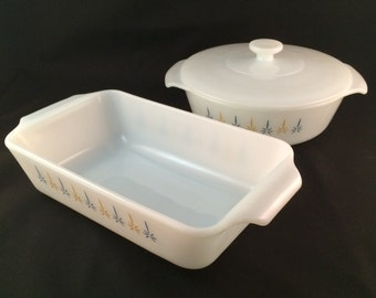 """SALE - Anchor Hocking """"Candle Glow"""" Casserole Dish and Loaf Pan Set"""