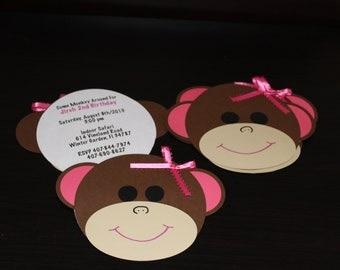 Monkey Party Invitations Set of 12
