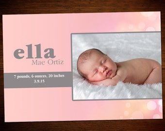 Baby Girl Birth Announcement Customized_G1101