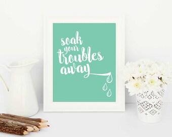 bathroom artwork, bathroom decor, bathroom print,  green bathroom print, instant printable artwork, bathroom instant print, home decor art
