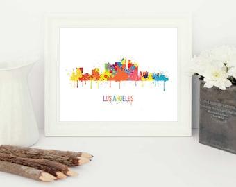 Los angeles art, los angeles, california map, LA skyline, los angeles skyline, watercolor map, LA artwork, paint splash, la silhouette
