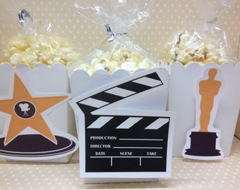 Hollywood, Movie Party Popcorn or Favor Boxes - Set of 10