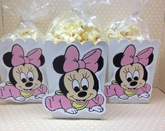 Baby Minnie Mouse Party or Baby Shower Popcorn or Favor Boxes - Set of 10