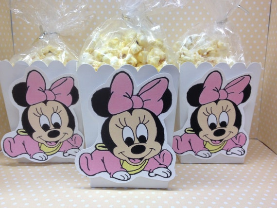 Baby Minnie Mouse Party Or Baby Shower Popcorn Or Favor Boxes Set