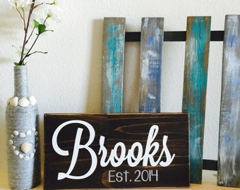 Family Est Sign / Personalized Name / Wood Sign Hand Painted / Wedding Date / Gift / Wedding Gift Rustic Wood Sign / Wooden Est Sign