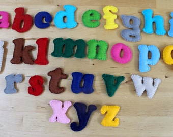 Hand-sewn, stuffed, felt fabric alphabet letters for children. Inc lined bag!