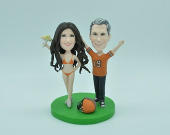 wedding cake topper funny cartoon figure custom personalized Football cake topper