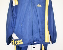 Adidas Workout  2 Pieces Set / Adidas Workout Wear / Medium Size / Blue Yellow Sweat Suit Windbreaker Trainer Hipster Old school Tracksuit