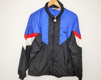 Wilson Windbreaker Blue Black Red Hipster Trainer Medium Size Anorak Training Jogging Sports Hipster Jacket 80s