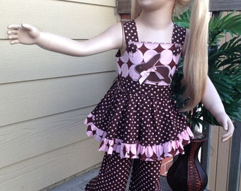 Handmade Boutique Chocolate Easter Bunny outfit. Size 4/5