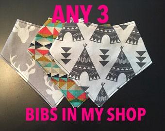 Baby bandana bib, boy bandana, baby drool bib, bibdana, reversible bandana, dribble bib, fashion bib, girl bandana bib,any 3 bibs in my shop