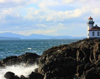 Lighthouse, Crashing waves, on San Juan Island, Washington, Landscape Photograph