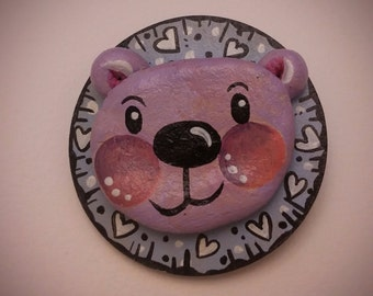 Handmade happy Bear brooch - air-dry clay - and wood.