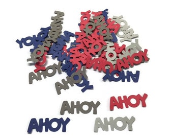 100 Assorted Red, Blue and Grey Ahoy Confetti, Nautical Theme, Baby Shower Decor, Ahoy its a Boy Party, Nautical Décor, Nautical wedding