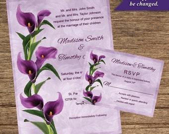 Purple Calla Lily Invitation and Respond Card FLW-01-INV-RC-Digital Download